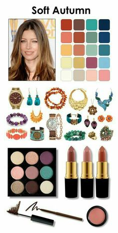 Ther best colors of the color types - Kívül-belül vonzó - soft autumn metal color is rose gold, gold, yellow copper Lipstick is nude brown *** avoid yellow - Soft Autumn Makeup, Soft Autumn Color Palette, Fall Makeup, Autumn Colours, Soft Autumn Deep, Warm Autumn, Fall Hair Colors, Spring Colors, Color Type