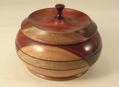 Artistian Made Wood Turned Bowl with Lid and Finial