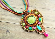 Colorful bead embroidery necklace, created by Annie & The Beads