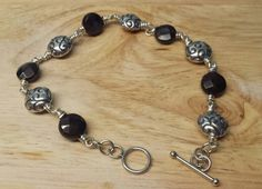 Sterling Silver Garnet Bracelet with Bali by empoweredcrystals, £38.00