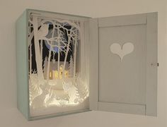 Magic Cupboard (paper cutting art )by Helen Musselwhite. Lots more beautiful… Kirigami, 3d Paper, Paper Crafts, Tunnel Book, Paper Artist, Conte, Box Art, Art Boxes, Altered Art