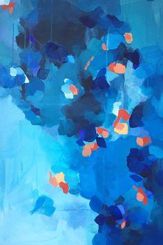'Autumn Sky' 24x36 original painting, by Megan Elizabeth @artbymegan, New York artist and mother. Striking blue and orange florals!