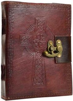 6 X 8 Celtic Cross Leather Blank Book W- Latch
