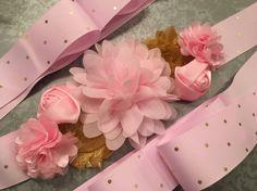 Rosa y oro Baby Shower flores marco maternidad por TheJuleBugShop