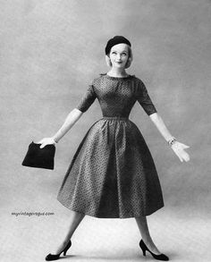 Lois Gunas Wideman wearing a dress by Lanz 1956