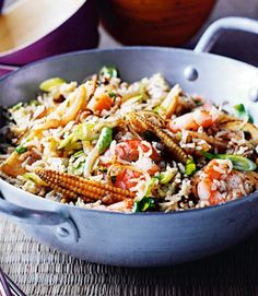 Egg-Fried Basmati Rice with Indonesian Prawns and Baby Corn