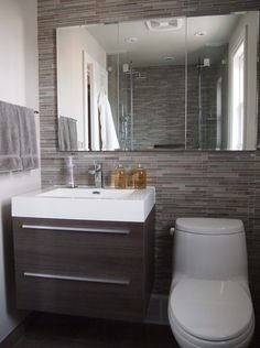 [12 Design Tips to Make a Small Bathroom Better Ensure your small bathroom is comfortable, not cramped, by using every inch wisely.] I have been in some small bathrooms — you know, the kind that make you feel like you have to lose 5 pounds to enter them. But I really like working on this type of bathroom design. Trying to make everything fit in the available space is like doing a giant crossword puzzle.