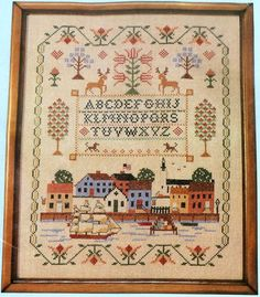 Liberty Landing Stamped Cross Stitch Kit Linen Patriotic Sampler Nautical  #CountryStitching #Sampler