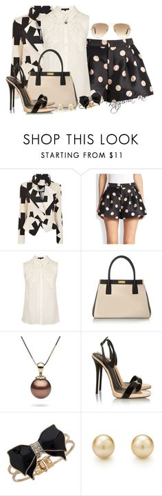"""""""Printed shorts & white top"""" by katyusha-kis ❤ liked on Polyvore featuring Vivienne Westwood Anglomania, RED Valentino, Topshop, Marni, Giuseppe Zanotti, Miss Selfridge and Ray-Ban"""