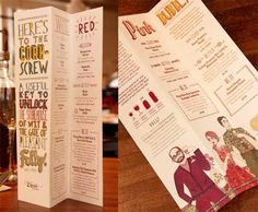 The larger text is very decorative in this menu. This does not equate to an efficiently laid menu, although it is very visually appealing and the illustrations add a lot of character to the design. The large text was compensated by a taller menu