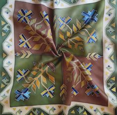 hand painted silk scarf geometric pattern silk scarf gift