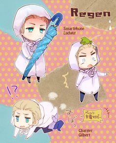 """【APH】白い雨合羽"" (English: [APH] the white raincoat); Created by もち太郎 (English: Mochi Tarō)"