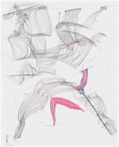 Interhorizontal Nexus I (Kiev I) Horizont; Mögliche Farben des Horizonts; Position; Himmelsrichtung; Melodie; Zäsur; Himmelsrichtung; Territorium; Zentrum; Öl; Wasser; Konstruktion; Dekonstruktion; Airport; N, S, W, O; Externe Zentren; Rotation; Kontinentalgrenze Jorinde Voigt Berlin 2010 Tinte, Ölkreide, Bleistift auf Papier 258 cm x 208 cm Unikat Signiert