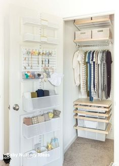 Organized nursery closet with an easy Elfa System.You can find Nursery organization and more on our website.Organized nursery closet with an easy Elfa System. Small Baby Nursery, Baby Nursery Closet, Baby Boy Rooms, Closet Bedroom, Nursery Room, Nursery Ideas, Girl Nursery, Baby Room, Apartment Nursery
