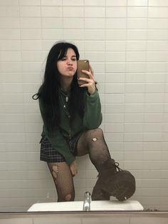 schoolgirl moment w ripped fishnets, demonia boots, igirl jewelry Edgy Outfits, Swag Outfits, Grunge Outfits, Cool Outfits, Fashion Outfits, Punk Fashion, Grunge Fashion, Alternative Outfits, Alternative Fashion