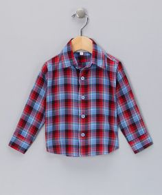 Another great find on #zulily! Red & Navy Plaid Button-Up - Boys #zulilyfinds
