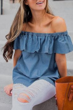 Off Shoulder Ruffles Sleeve Blouses