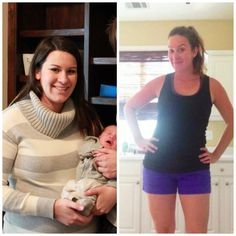 Before and After - T25 and Post pregnancy mom - one of my coaches and challenge participants.