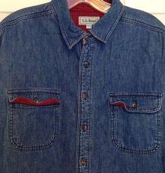 Vtg ll Bean Men's CL Blue Denim Shirt Flannel Lined Red Black Made in USA Mens | eBay