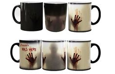 the walking dead mugs Deads WAS HERE Zombie mugs morphing coffee mug transforming novelty heat changing color magic cup tea cups