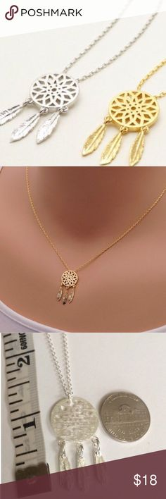 Gold Dream catcher necklace Gold plated over stainless steel 18 inch necklace Jewelry Necklaces