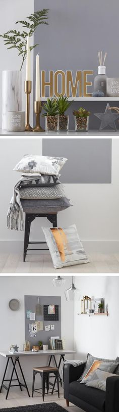 Modern home decor doesn't have to mean cold and bland: this mix of linear lines, abstract graphics, textures and metallics is both ultra-simplistic yet still warm and cosy. My Living Room, Home And Living, 2017 Decor, D House, My New Room, Home Decor Inspiration, Cosy, Home Furnishings, Home Accessories