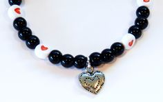 Beautiful Bracelet-Valentines Day-Stamped Silver Tone Heart Charm-White Beads with Red Hearts by rosaliascharm on Etsy