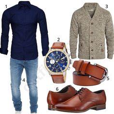Elegantes Männer-Outfit mit Strickjacke (m0539)