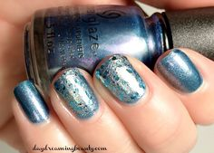 Frozen inspired manicure using China Glaze December to Remember and Pure Ice Winter Blues. Qtips Precision tips are my favorite clean up tool! #beautyQtips