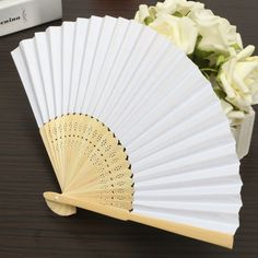 Summer White Paper Fans Wedding Party Decoration Favor Pocket Folding Bamboo Fan