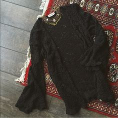 •• Vintage Black Lace Witch Boho Sheer Duster  •• As seen on me in my profile picture, as well as the photos above! Bell sleeves! ^___^ This duster is in great condition! I love this piece! Need the cash though, so I want to send this bb to a loving home. Make me offers! Serious buyers only please! Vintage Tops