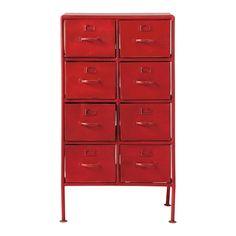 Cabinet de rangement indus en métal rouge L 52 cm x H100 x PR 29 - pour entrée du loft