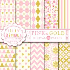 Pink &Gold Digital Paper is a set of elegant and modern digital papers with pink and gold patterns. Perfect for summer weddings, scrapbooking, cards and crafts!
