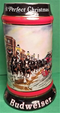 Beer Stein - Vintage 1992 - Budweiser World Famous Clydesdales - Christmas
