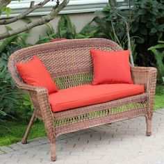 Jeco Honey Wicker Patio Loveseat with Cushion and Pillows (Red Orange), Size 4-Piece Sets, Patio Furniture