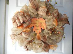 Fall Deco Mesh Wreath/Thanksgiving Wreath by DecoDaneWreaths