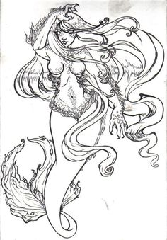 mermaid by depplosion traditional art drawings fantasy 2009 2015 - Coloring Pages Mermaids Realistic