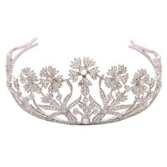 The Perfect Diamond Bridal Tiara | From a unique collection of vintage wedding rings at https://www.1stdibs.com/jewelry/rings/wedding-rings/