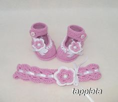Flower #headband and #booties 0-12 months for girl pink от #tappleta