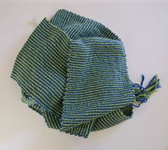 Blue and Green Striped Scarf by RibhusLugh on Etsy
