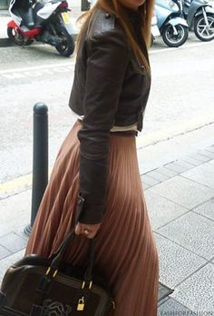 Flowy skirt with leather jacket