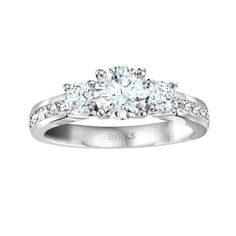 BIRKS BLUE® Channel Collection, 3-stone Diamond Engagement Ring, in 18kt White Gold