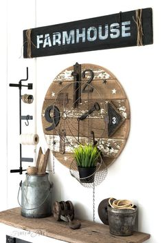 Salvaged junk clock with Farmhouse sign made from reclaimed wood, with Funky Junk's Old Sign Stencils | funkyjunkinteriors.net
