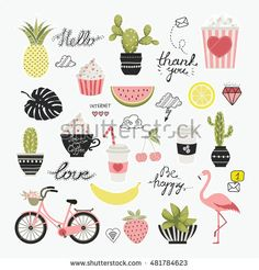 Vector set of Cartoon badges, cute  stickers. Patch or fashion pin badges, calligraphy. Hello, love, be happy, thank you