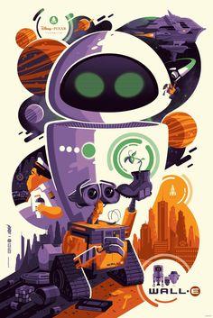 "Mondo X Cyclops Print Works Print #02: Wall-E by Tom Whalen 24""x36"" Screen Print, Edition of 390 $55"