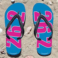 Fuchsia 26.2 on Aqua Flip Flops - Kick back after a marathon with these great flip flops! Fun and functional flip flops for all marathoners.