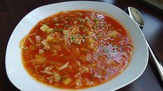 Weißkohl-Hackfleischsuppe auf Tomatenbasis, ein raffiniertes Rezept aus der Kategorie Kochen. Bewertungen: 1. Durchschnitt: Ø 3,3.