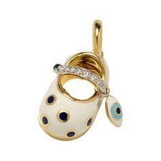 Aaron Basha Baby Shoe 18K Yellow Gold Enamel & Diamond Charm