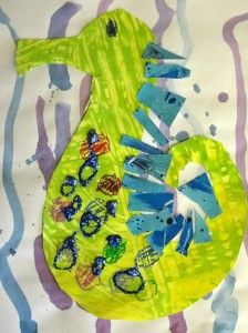 Eric Carle inspired seahorse art