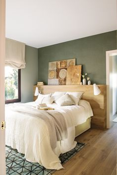 Master bedroom – green stone neatural walls with vinyl paper over a headwall bedrooms Green Apartment Master Bedroom, Small Master Bedroom, Master Bedroom Design, Home Decor Bedroom, Bedroom Designs, Bedroom Ideas, Big Bedrooms, Bed Rooms, Luxury Duvet Covers